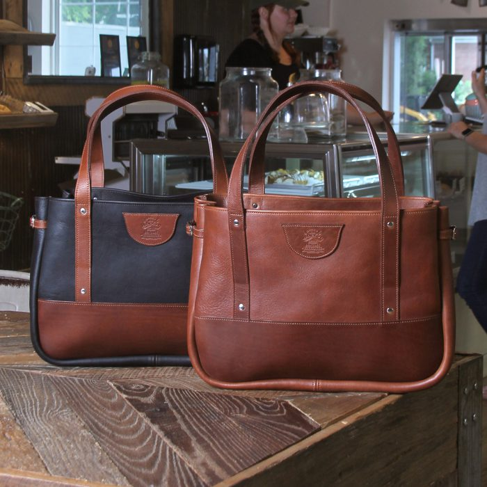black and brown american leather bentley totes