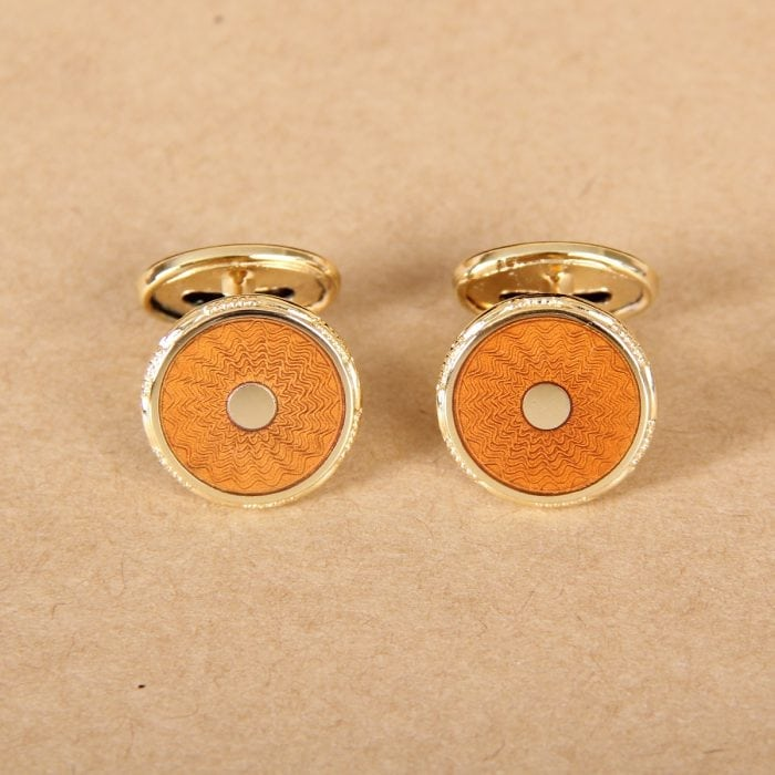 colonel styled cuff links - gold plated enamel