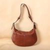 no25 drifter brown leather handbag with zippered closure and strap