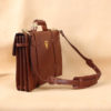 brown leather navigator briefcase with strap