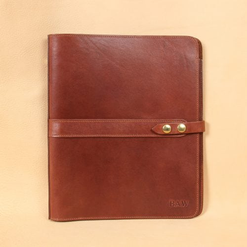 no19 brown leather binder notebook with two position snap closure