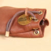 no1 small vintage brown leather possibles drawstring bag