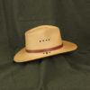 khaki lynnville panama hat with leather accent stash band