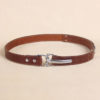 Best leather cinch belt brown with stainless front buckle closed.