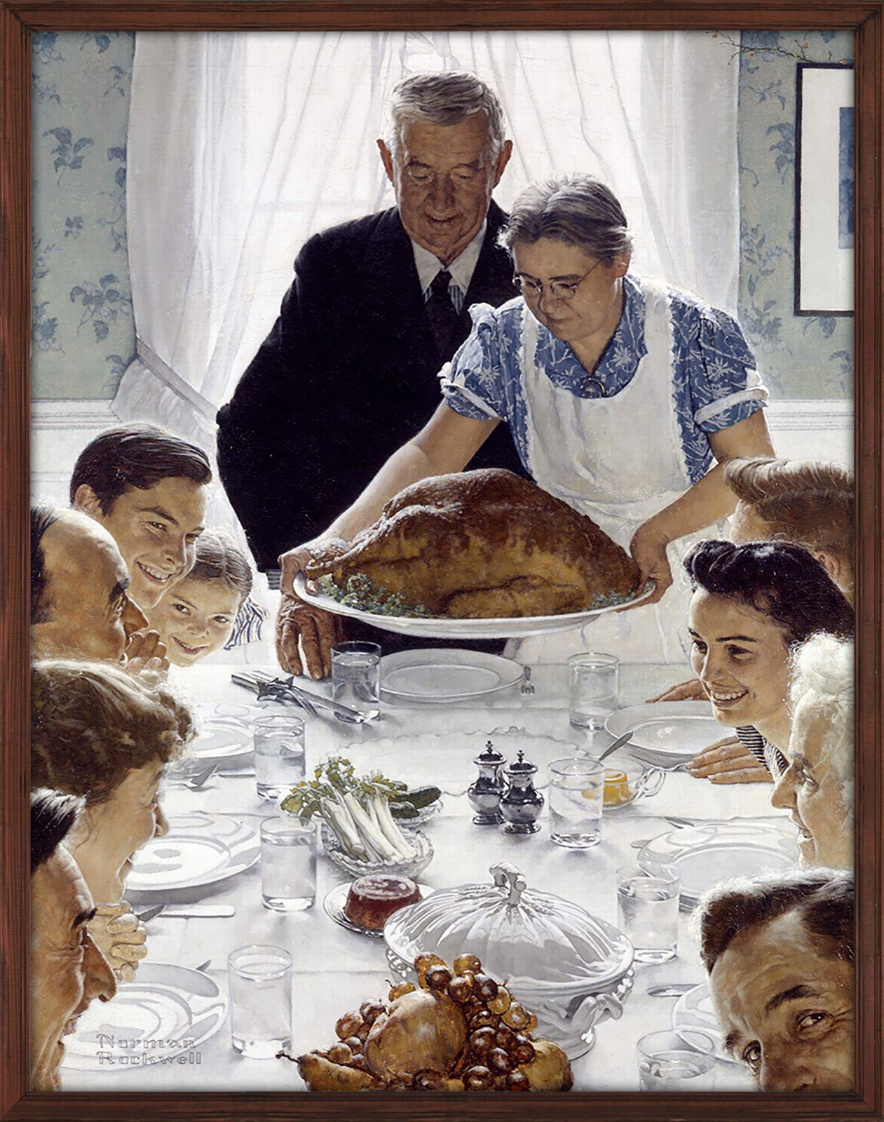 Norman Rockwell illustration of a Thanksgiving dinner