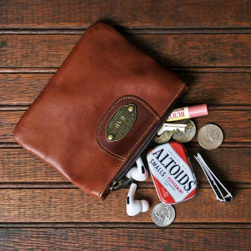 no1 brown leather small zip it bag with accessories