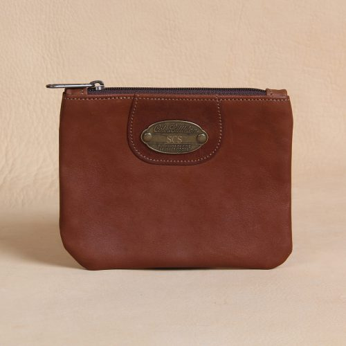 leather pouch with zipper front view