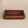 no 120 leather valet tray with wood strip and personalization plate