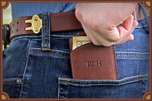 leather wallet coming out of back pant pocket