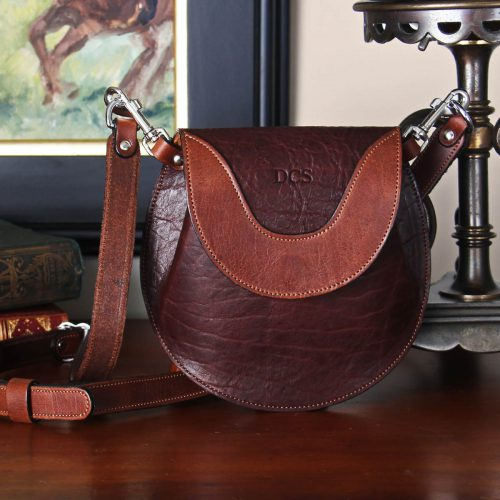 tobacco brown american buffalo leather no1 bitsy crossbody belt bag with strap
