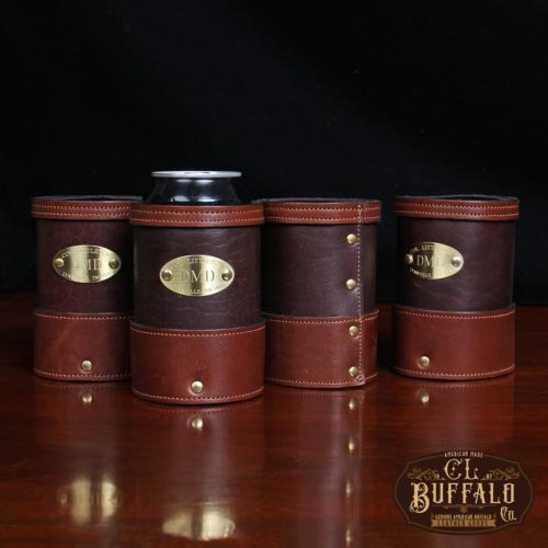 set of 4 dark brown leather can coozies with soda can in one